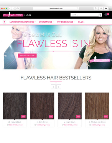Sara Dunn is UX design, visual design, website design, print and digital design.. Custom created brand, print and website for Flawless Hair, San Francisco, CA. www.getflawlesshair.com